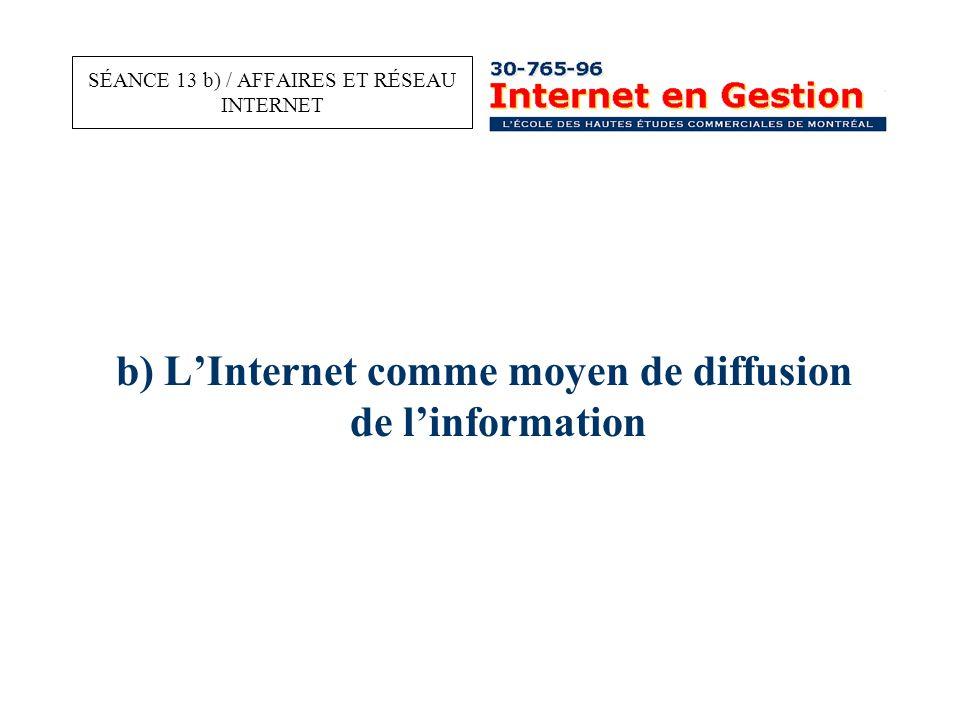 b) L'Internet comme moyen de diffusion de l'information SÉANCE 13 b) / AFFAIRES ET RÉSEAU INTERNET