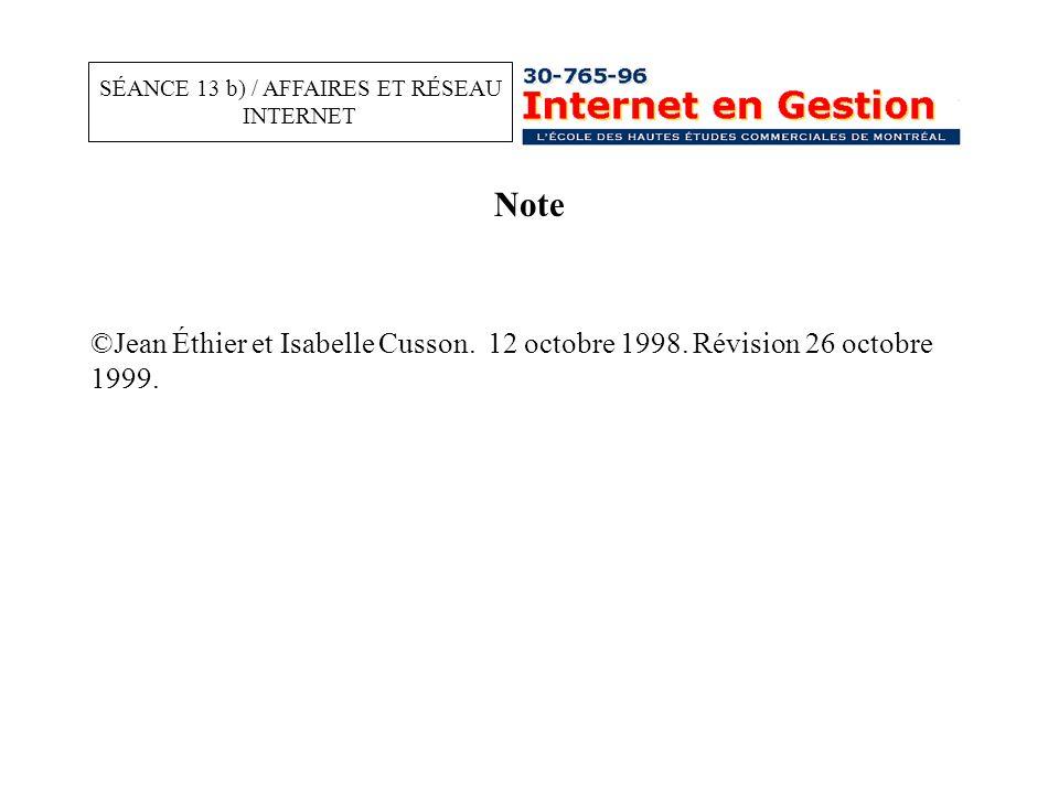 Note ©Jean Éthier et Isabelle Cusson. 12 octobre 1998.