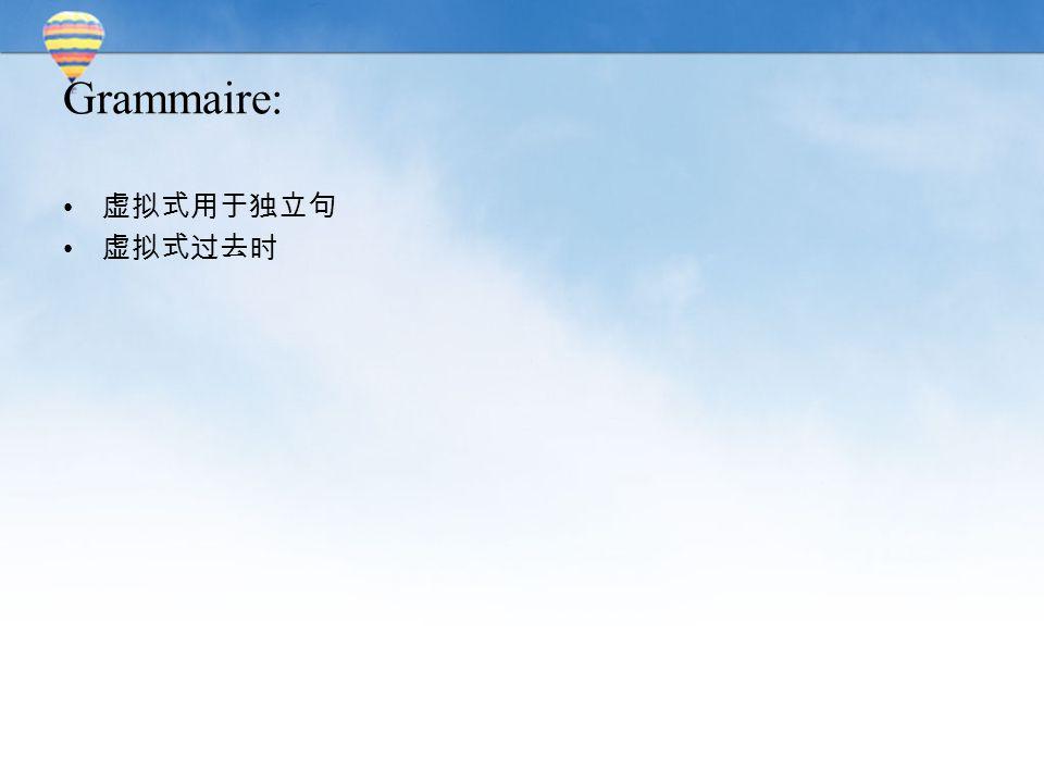 Grammaire: 虚拟式用于独立句 虚拟式过去时