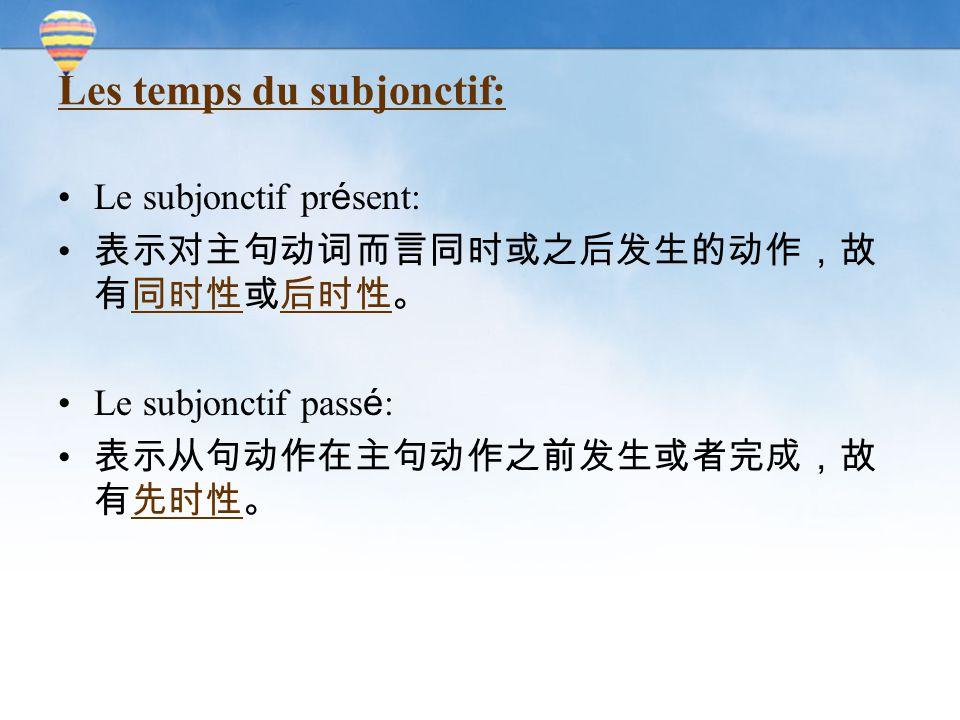 Les temps du subjonctif: Le subjonctif pr é sent: 表示对主句动词而言同时或之后发生的动作,故 有同时性或后时性。 Le subjonctif pass é : 表示从句动作在主句动作之前发生或者完成,故 有先时性。