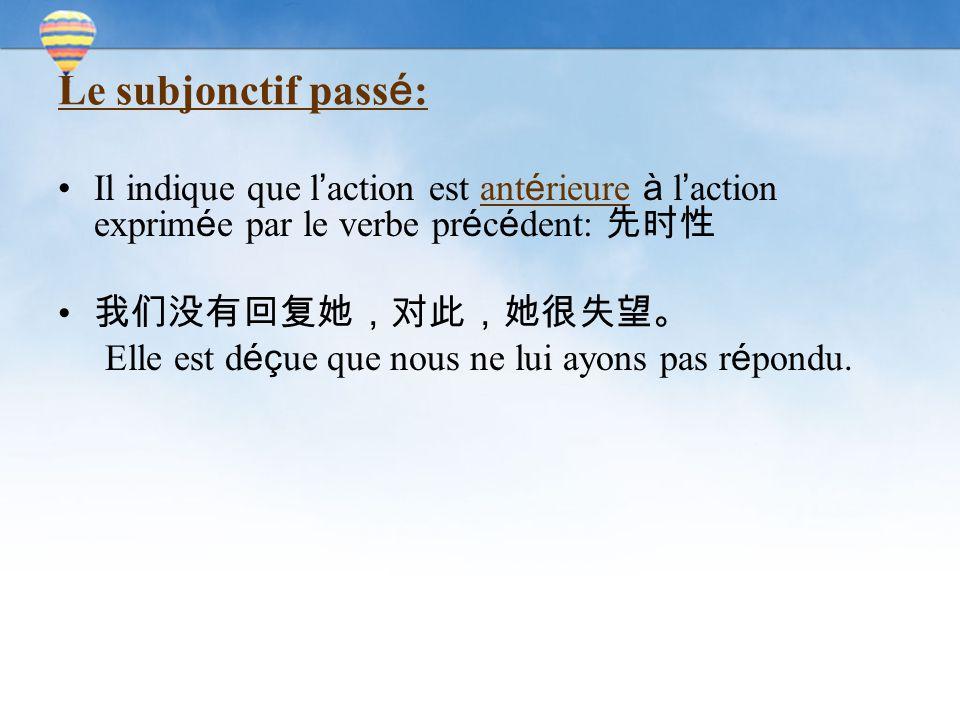 Le subjonctif pass é : Il indique que l ' action est ant é rieure à l ' action exprim é e par le verbe pr é c é dent: 先时性 我们没有回复她,对此,她很失望。 Elle est d