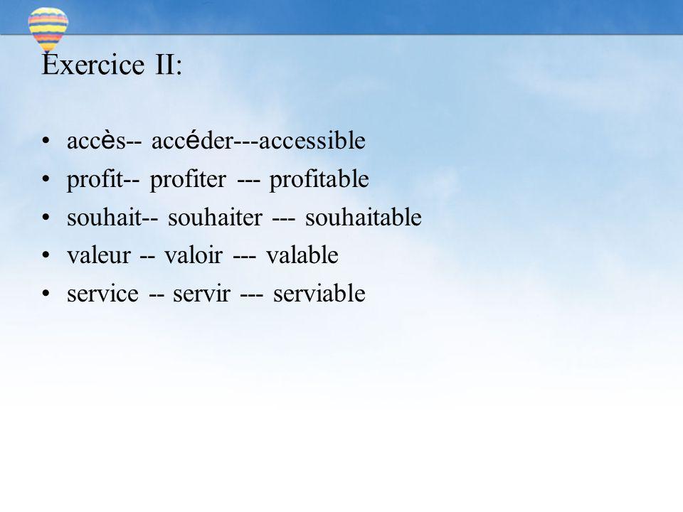 Exercice II: acc è s-- acc é der---accessible profit-- profiter --- profitable souhait-- souhaiter --- souhaitable valeur -- valoir --- valable service -- servir --- serviable