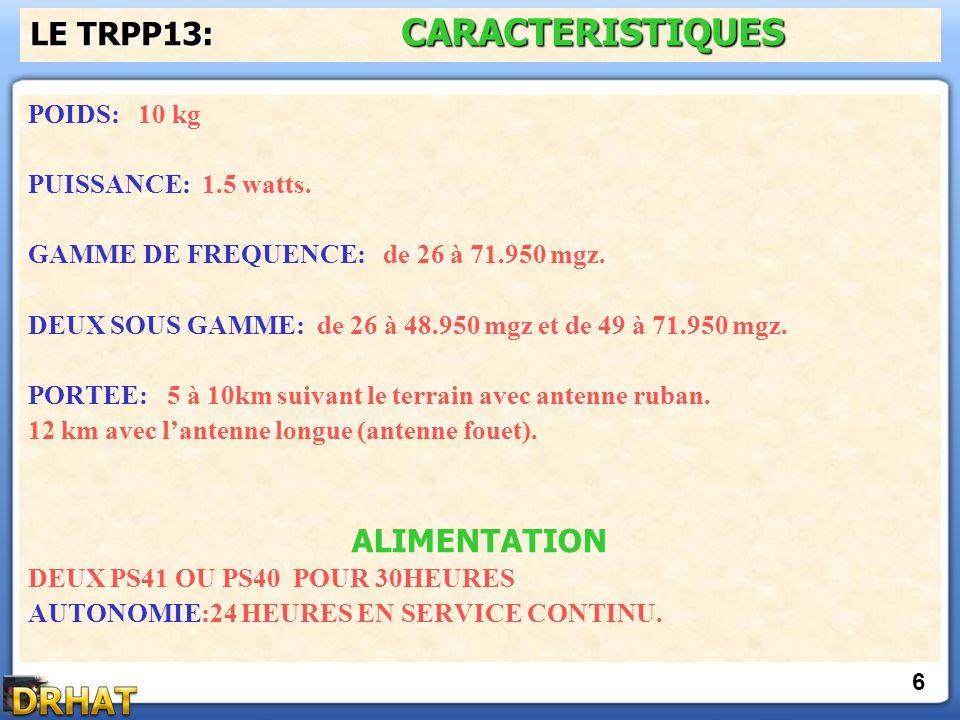 POIDS: 10 kg PUISSANCE: 1.5 watts. GAMME DE FREQUENCE: de 26 à 71.950 mgz. DEUX SOUS GAMME: de 26 à 48.950 mgz et de 49 à 71.950 mgz. PORTEE: 5 à 10km