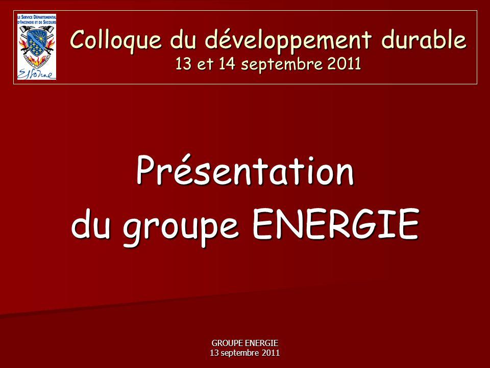 GROUPE ENERGIE 13 septembre 2011 Le patrimoine immobilier du SDIS 91 représente 80 000 m² bâtis, soit environ 70 sites sur 50 ha et la facture énergétique représente annuellement environ 1.5 millions d'€ sur le budget de Fonctionnement.