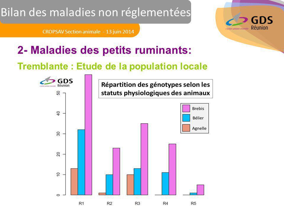 Réunion des Vétérinaires Sanitaires 2- Maladies des petits ruminants: Tremblante : Etude de la population locale CROPSAV Section animale - 13 juin 201