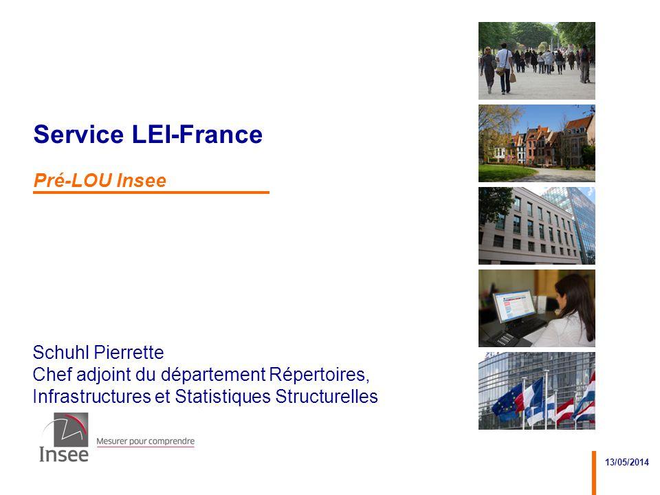 Schuhl Pierrette Chef adjoint du département Répertoires, Infrastructures et Statistiques Structurelles 13/05/2014 Service LEI-France Pré-LOU Insee