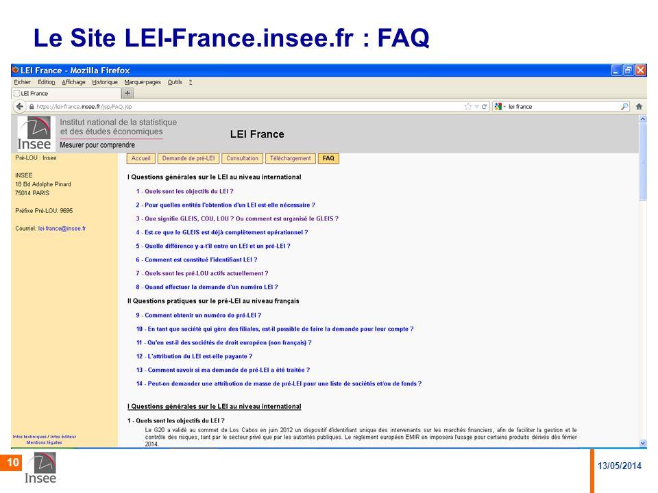 13/05/2014 10 Le Site LEI-France.insee.fr : FAQ