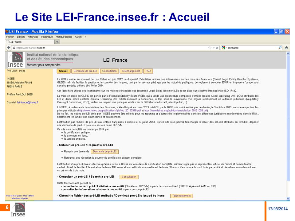 13/05/2014 6 Le Site LEI-France.insee.fr : Accueil