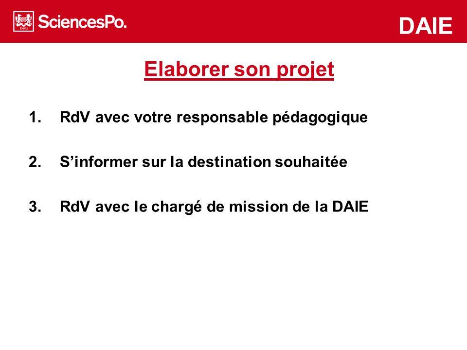 www.asiapacific.sciences-po.fr/en www.mea.sciences-po.fr/en DAIE Elaborer son projet 1.RdV avec votre responsable pédagogique 2.S'informer sur la dest