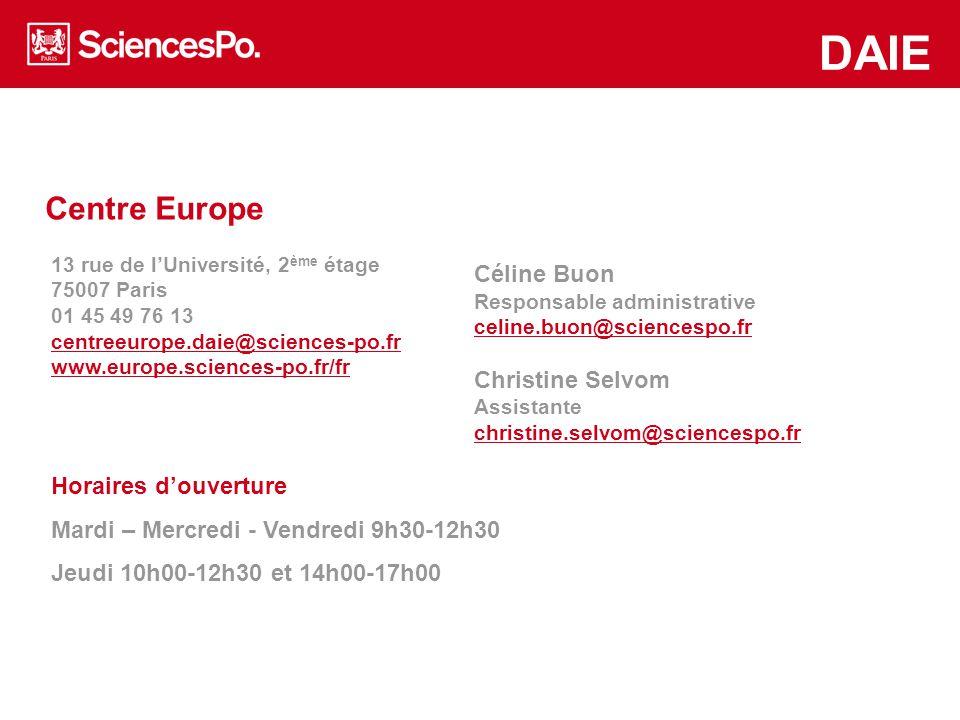 Centre Europe DAIE Des réunions d'informations par région/pays seront organisées prochainement; Consultez le site du Collège universitaire, rubrique « troisième année » pour connaitre les dates et lieux de ces réunions.