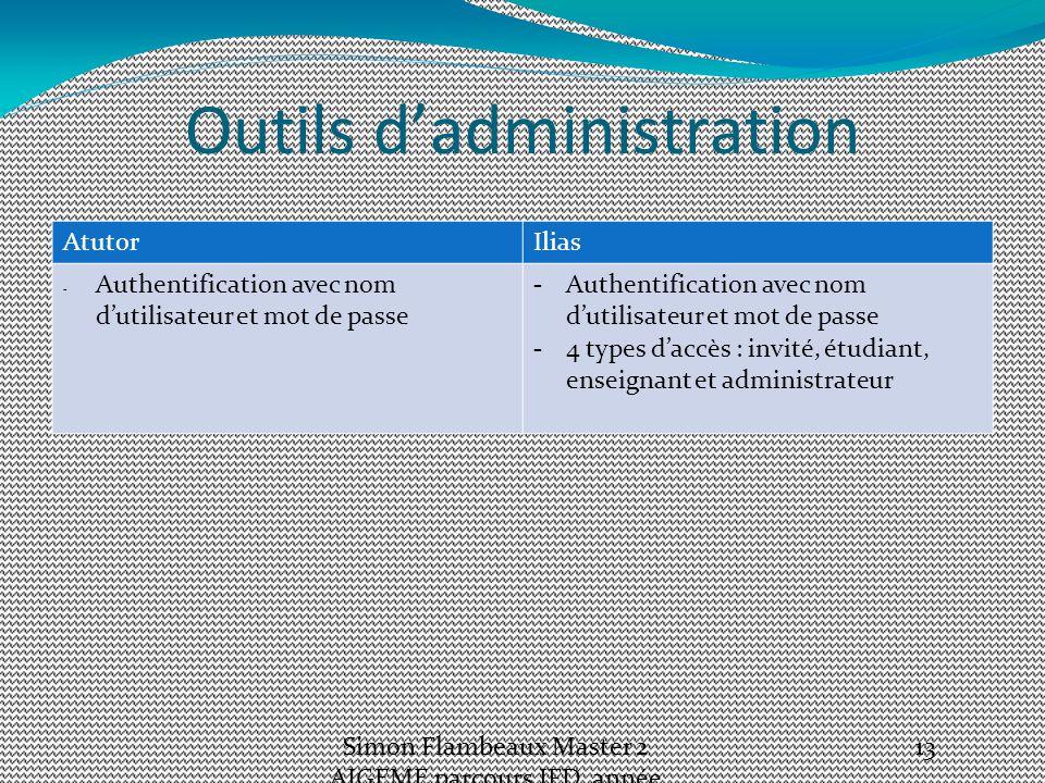 Outils d'administration AtutorIlias - Authentification avec nom d'utilisateur et mot de passe -4 types d'accès : invité, étudiant, enseignant et administrateur Simon Flambeaux Master 2 AIGEME parcours IFD, année 2012-13 13