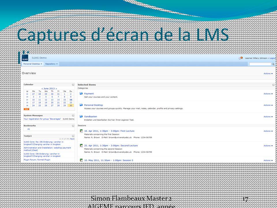 Captures d'écran de la LMS Ilias Simon Flambeaux Master 2 AIGEME parcours IFD, année 2012-13 17