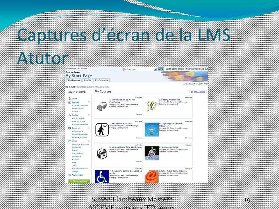 Captures d'écran de la LMS Atutor Simon Flambeaux Master 2 AIGEME parcours IFD, année 2012-13 19