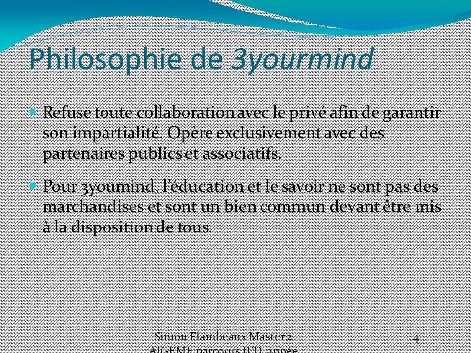 Philosophie de 3yourmind Refuse toute collaboration avec le privé afin de garantir son impartialité.