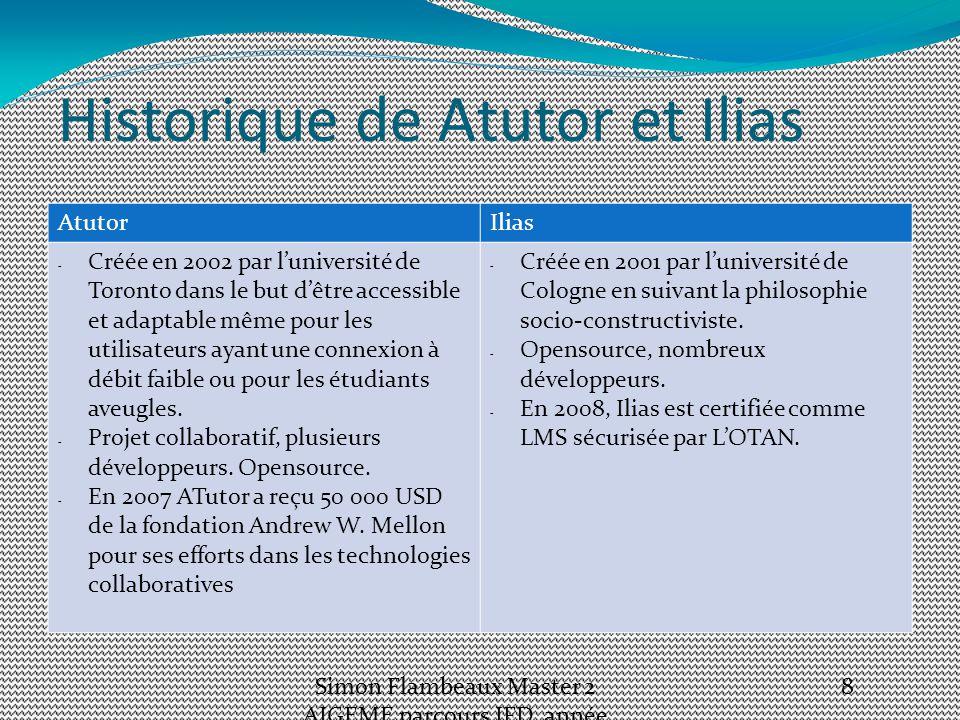 Historique de Atutor et Ilias AtutorIlias - Créée en 2002 par l'université de Toronto dans le but d'être accessible et adaptable même pour les utilisateurs ayant une connexion à débit faible ou pour les étudiants aveugles.