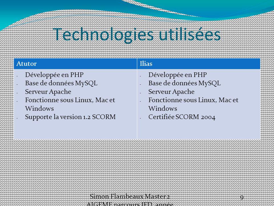 Technologies utilisées AtutorIlias - Développée en PHP - Base de données MySQL - Serveur Apache - Fonctionne sous Linux, Mac et Windows - Supporte la version 1.2 SCORM - Développée en PHP - Base de données MySQL - Serveur Apache - Fonctionne sous Linux, Mac et Windows - Certifiée SCORM 2004 Simon Flambeaux Master 2 AIGEME parcours IFD, année 2012-13 9