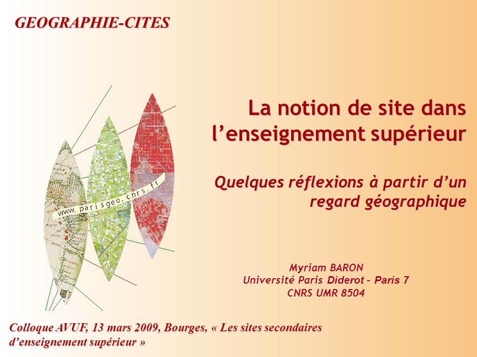 Colloque AVUF, 13 mars 2009, Bourges, « Les sites secondaires d'enseignement supérieur » Proposition de cheminement Introduction : les sites dans l'enseignement supérieur  Thème souvent abordé dans les colloques de l'AVUF  Objet de recherche à intérêt variable pour les recherches  Proposition d'une grille de lecture plutôt géographique I.