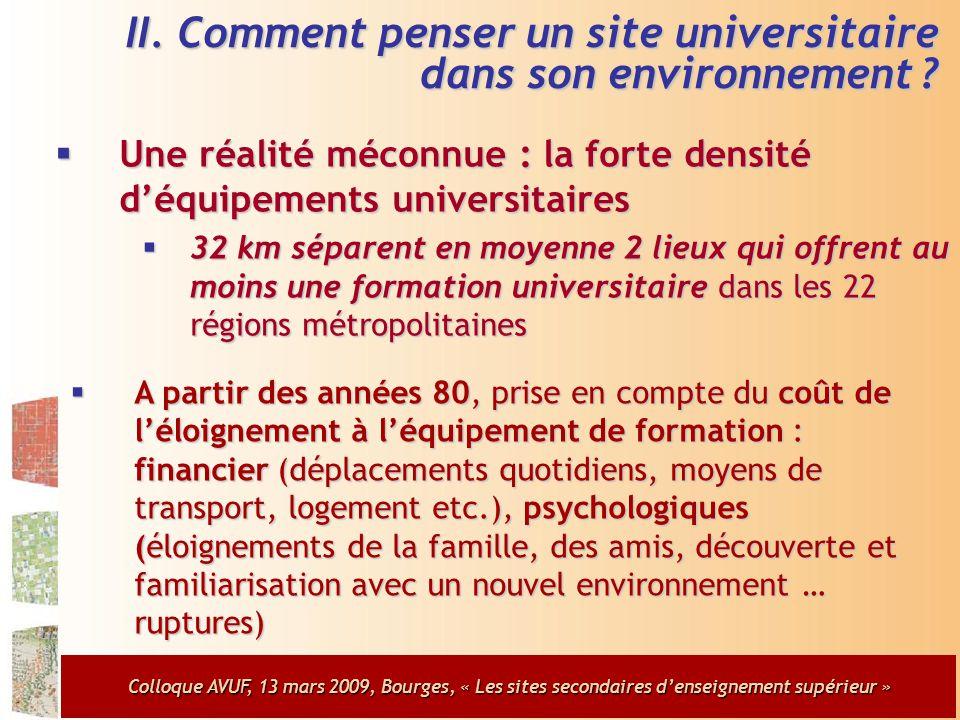 Colloque AVUF, 13 mars 2009, Bourges, « Les sites secondaires d'enseignement supérieur »  Une réalité méconnue : la forte densité d'équipements universitaires  32 km séparent en moyenne 2 lieux qui offrent au moins une formation universitaire dans les 22 régions métropolitaines II.