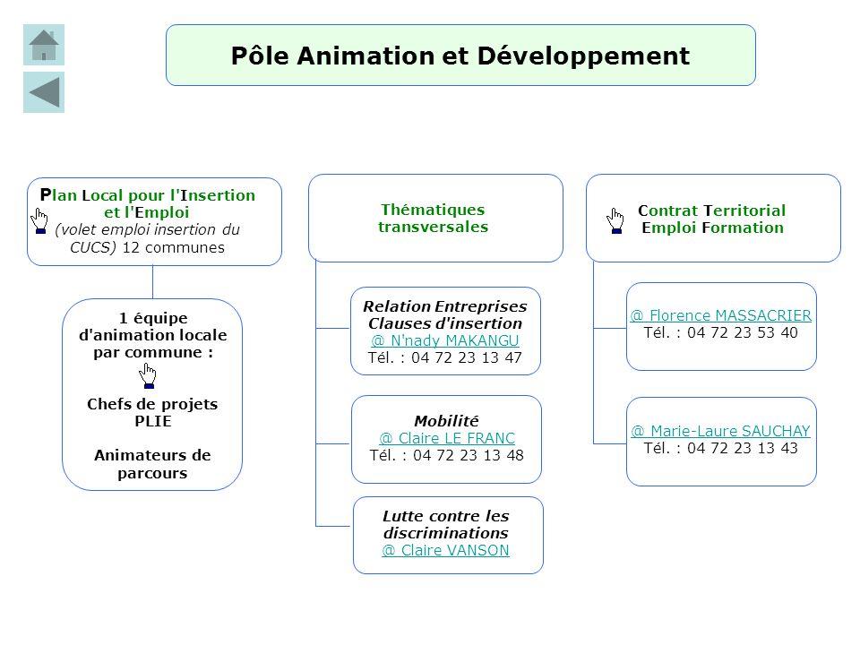 Pôle Animation et Développement P lan Local pour l'Insertion et l'Emploi (volet emploi insertion du CUCS) 12 communes 1 équipe d'animation locale par