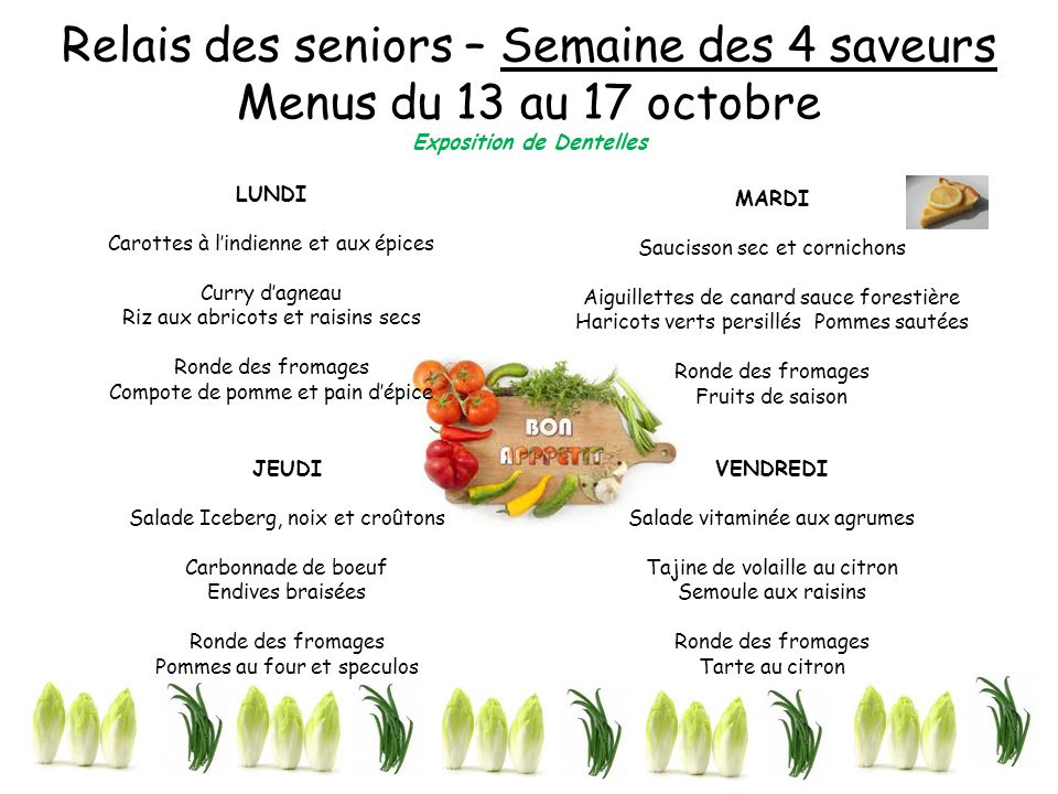 Relais des seniors – Semaine des 4 saveurs Menus du 13 au 17 octobre Exposition de Dentelles LUNDI Carottes à l'indienne et aux épices Curry d'agneau