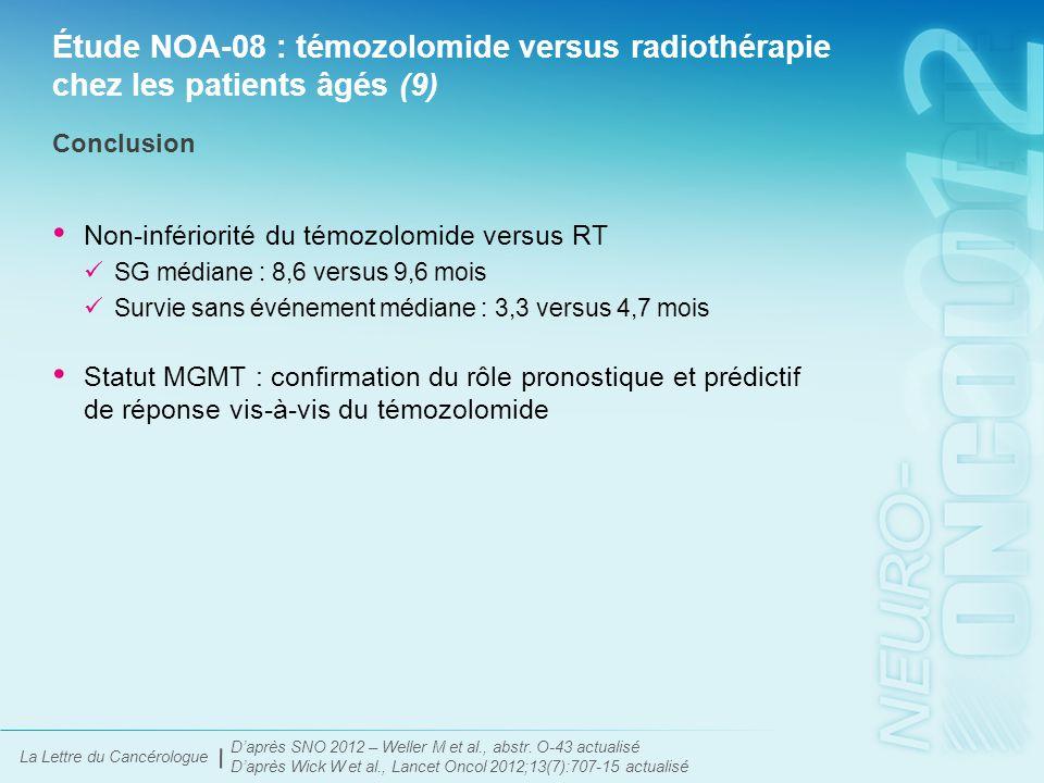 La Lettre du Cancérologue Étude NOA-08 : témozolomide versus radiothérapie chez les patients âgés (10) Un test MGMT doit-il être envisagé chez les patients âgés porteurs d'un glioblastome.