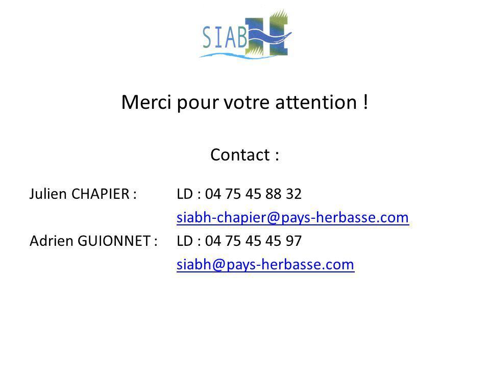 Merci pour votre attention ! Contact : Julien CHAPIER :LD : 04 75 45 88 32 siabh-chapier@pays-herbasse.com Adrien GUIONNET : LD : 04 75 45 45 97 siabh
