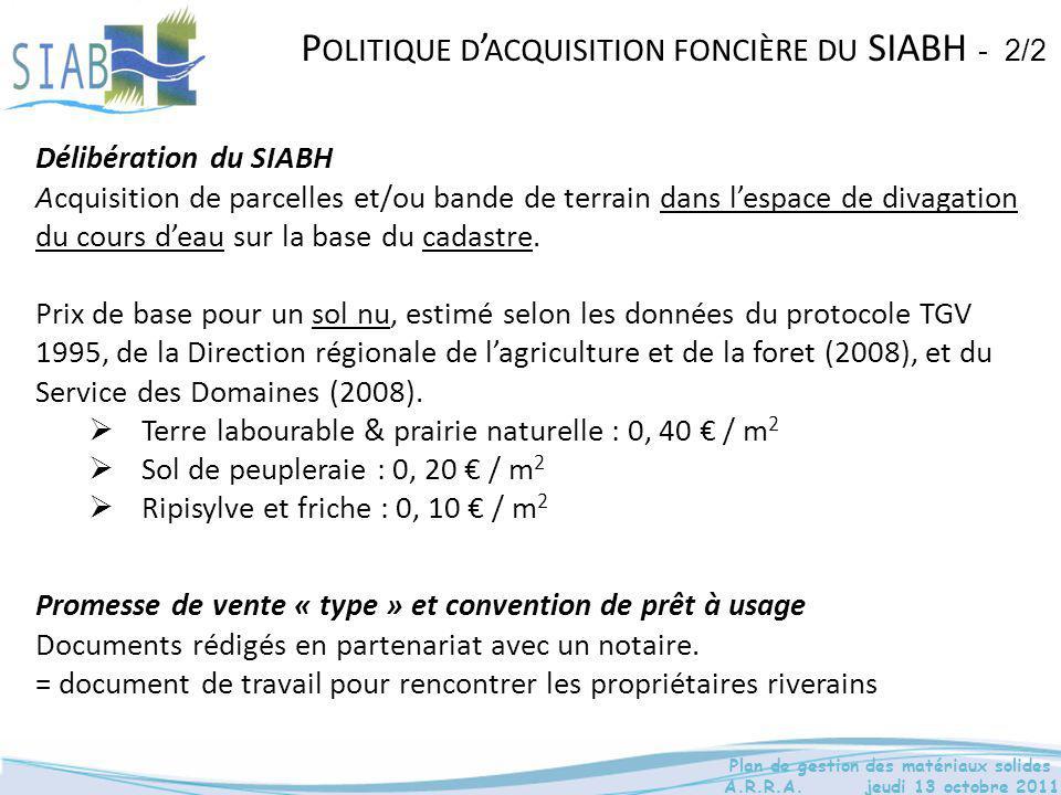 Délibération du SIABH Acquisition de parcelles et/ou bande de terrain dans l'espace de divagation du cours d'eau sur la base du cadastre. Prix de base