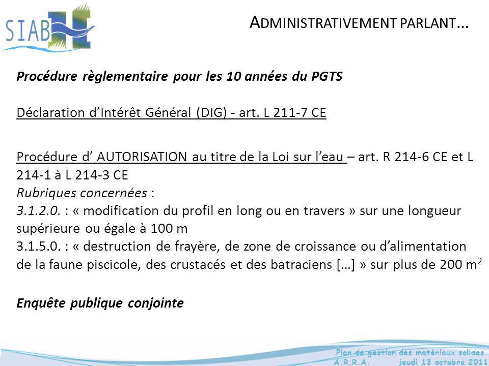 Procédure d' AUTORISATION au titre de la Loi sur l'eau – art. R 214-6 CE et L 214-1 à L 214-3 CE Rubriques concernées : 3.1.2.0. : « modification du p