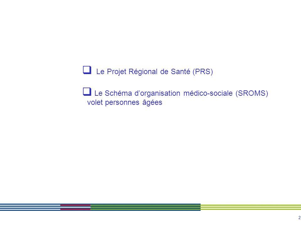 2  Le Projet Régional de Santé (PRS)  Le Schéma d'organisation médico-sociale (SROMS) volet personnes âgées