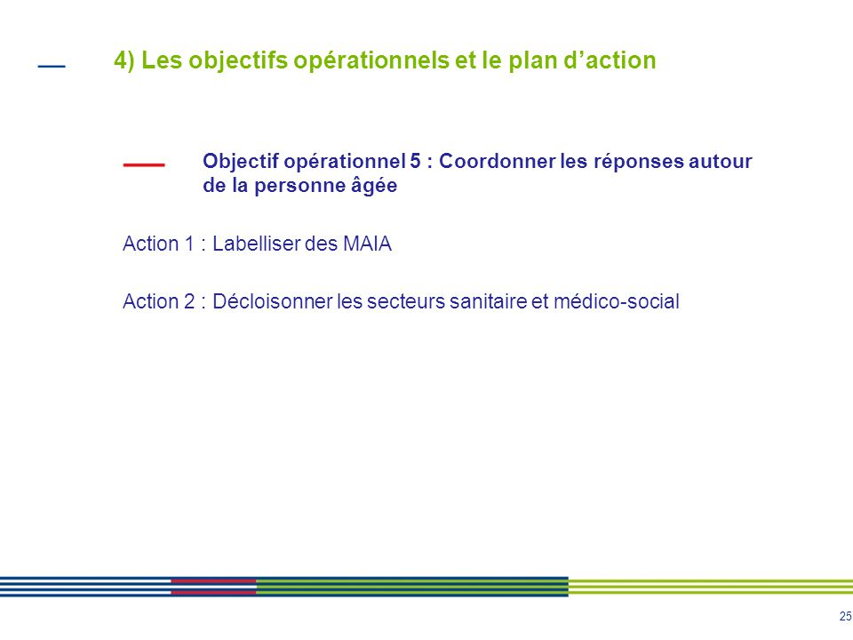 25 4) Les objectifs opérationnels et le plan d'action Objectif opérationnel 5 : Coordonner les réponses autour de la personne âgée Action 1 : Labellis