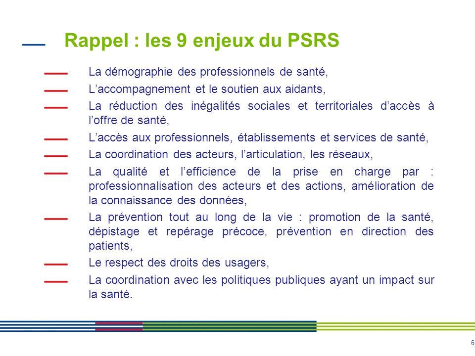 7 La déclinaison opérationnelle du PRS Déclinaison opérationnelle des schémas et programmes sous forme de plans d'actions.