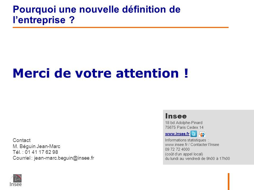Merci de votre attention ! Contact M. Béguin Jean-Marc Tél. : 01 41 17 62 98 Courriel : jean-marc.beguin@insee.fr Insee 18 bd Adolphe-Pinard 75675 Par