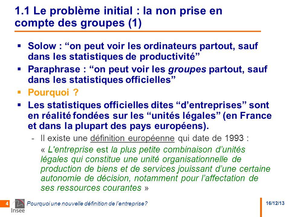 """16/12/13 Pourquoi une nouvelle définition de l'entreprise? 4 1.1 Le problème initial : la non prise en compte des groupes (1)  Solow : """"on peut voir"""