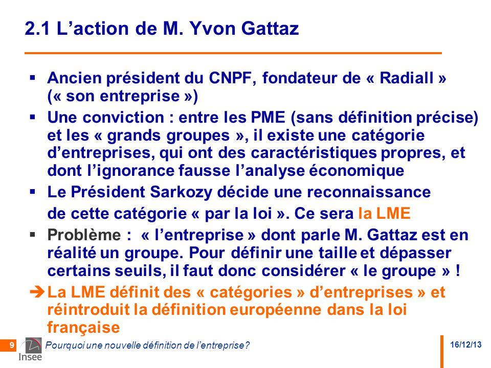 16/12/13 Pourquoi une nouvelle définition de l'entreprise? 9 2.1 L'action de M. Yvon Gattaz  Ancien président du CNPF, fondateur de « Radiall » (« so