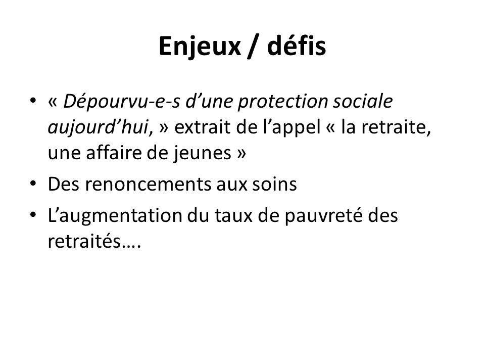 Enjeux / défis « Dépourvu-e-s d'une protection sociale aujourd'hui, » extrait de l'appel « la retraite, une affaire de jeunes » Des renoncements aux soins L'augmentation du taux de pauvreté des retraités….