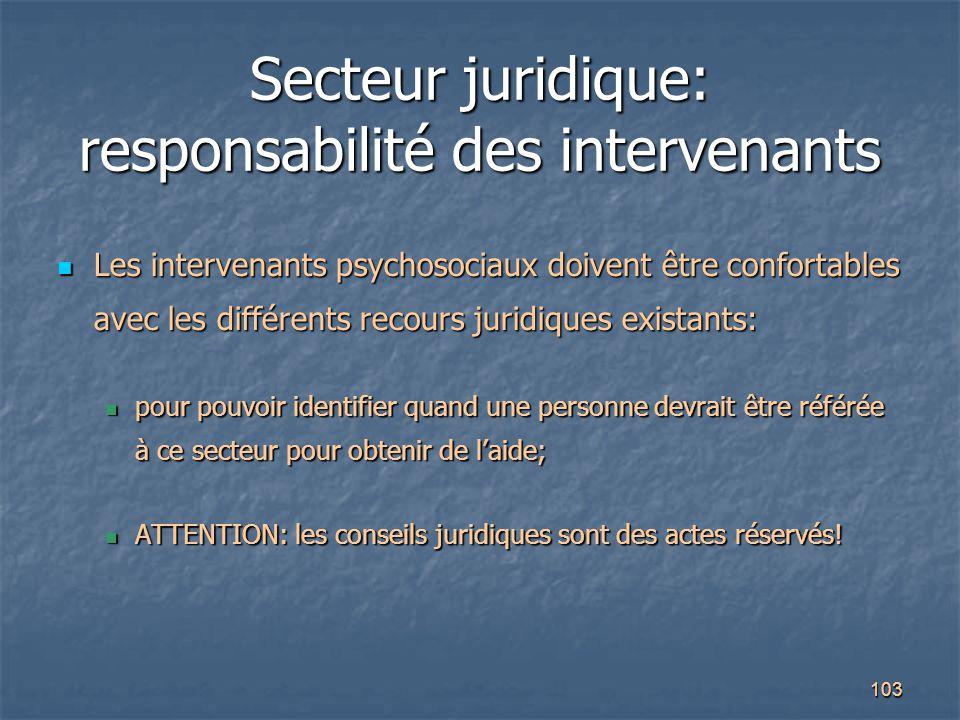 103 Secteur juridique: responsabilité des intervenants Les intervenants psychosociaux doivent être confortables avec les différents recours juridiques
