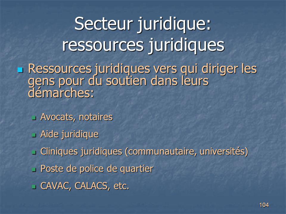 104 Secteur juridique: ressources juridiques Ressources juridiques vers qui diriger les gens pour du soutien dans leurs démarches: Ressources juridiqu