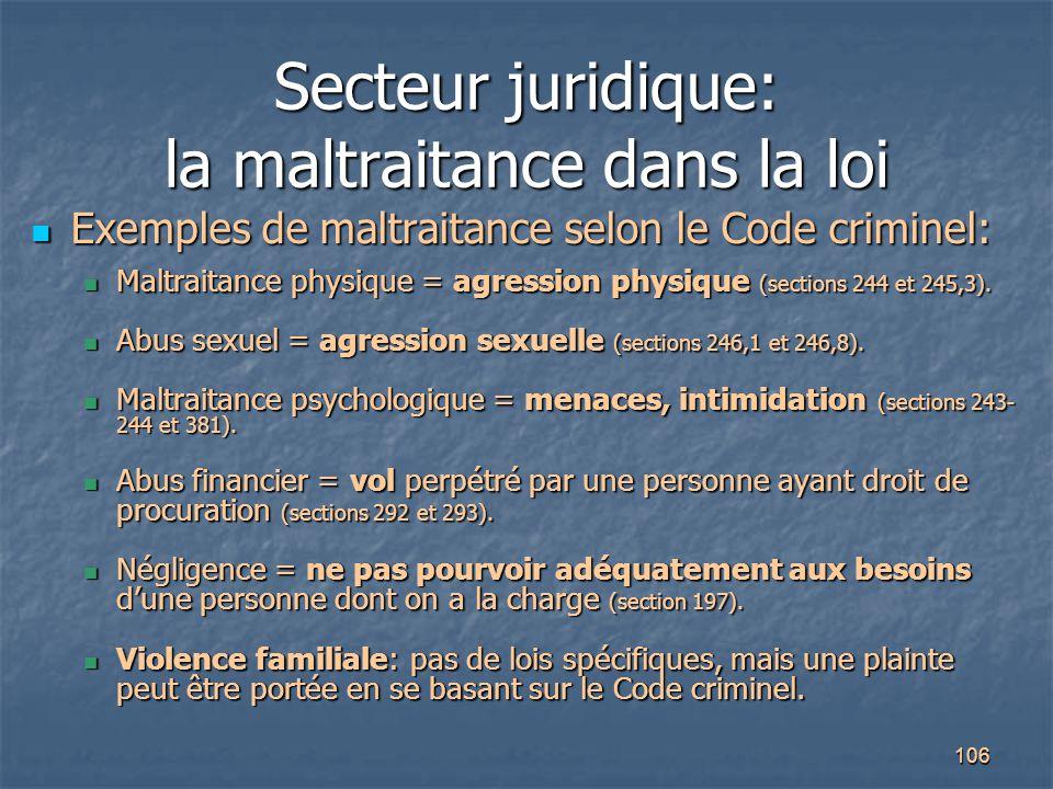 106 Secteur juridique: la maltraitance dans la loi Exemples de maltraitance selon le Code criminel: Exemples de maltraitance selon le Code criminel: M