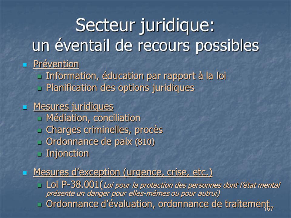 107 Secteur juridique: un éventail de recours possibles Prévention Prévention Information, éducation par rapport à la loi Information, éducation par r