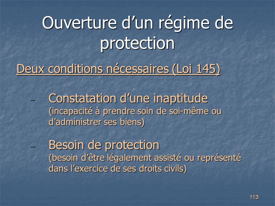 113 Ouverture d'un régime de protection Deux conditions nécessaires (Loi 145) – Constatation d'une inaptitude (incapacité à prendre soin de soi-même o