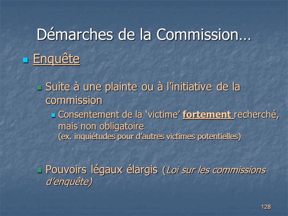128 Démarches de la Commission… Enquête Enquête Suite à une plainte ou à l'initiative de la commission Suite à une plainte ou à l'initiative de la com