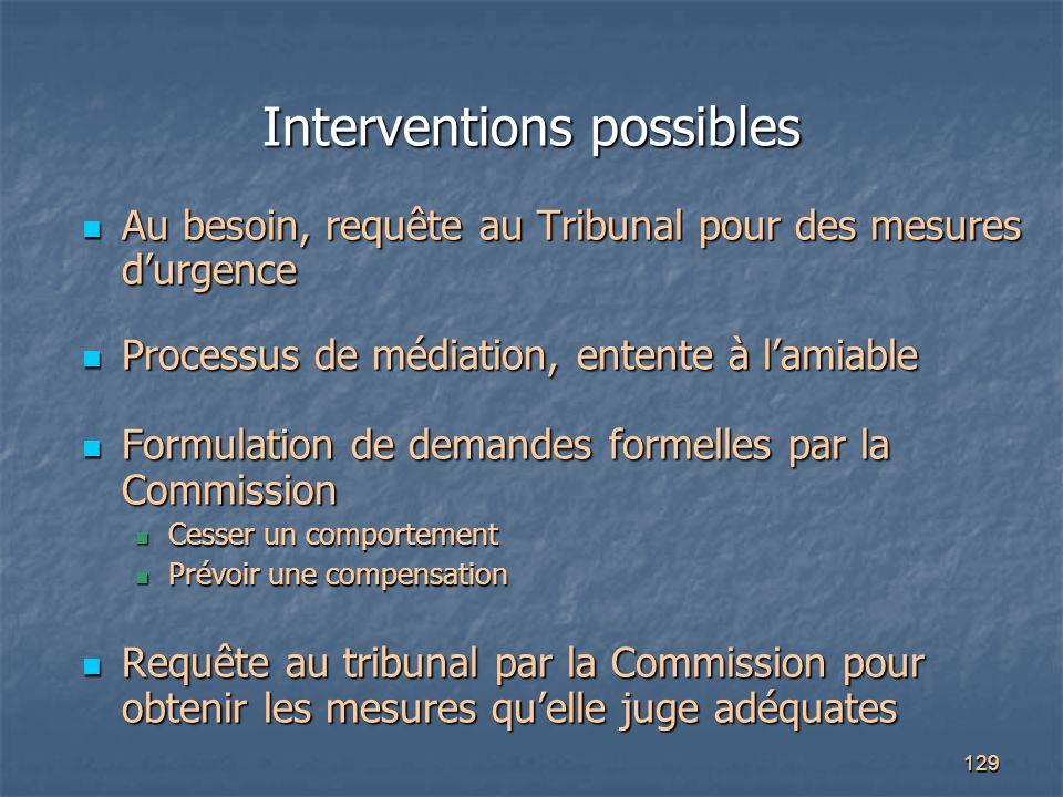 129 Interventions possibles Au besoin, requête au Tribunal pour des mesures d'urgence Au besoin, requête au Tribunal pour des mesures d'urgence Proces