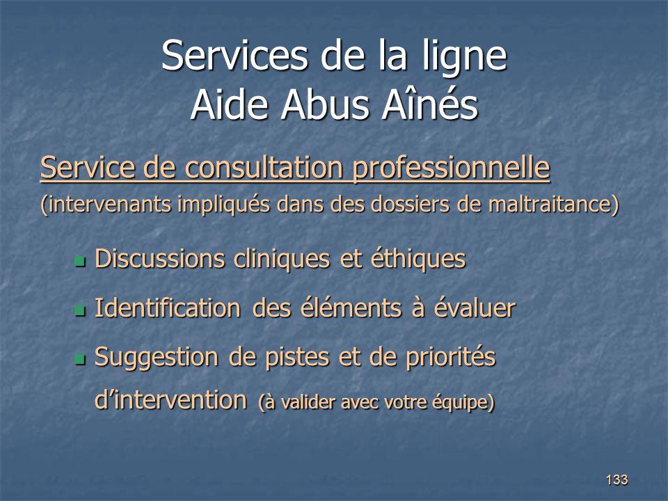 133 Services de la ligne Aide Abus Aînés Service de consultation professionnelle (intervenants impliqués dans des dossiers de maltraitance) Discussion