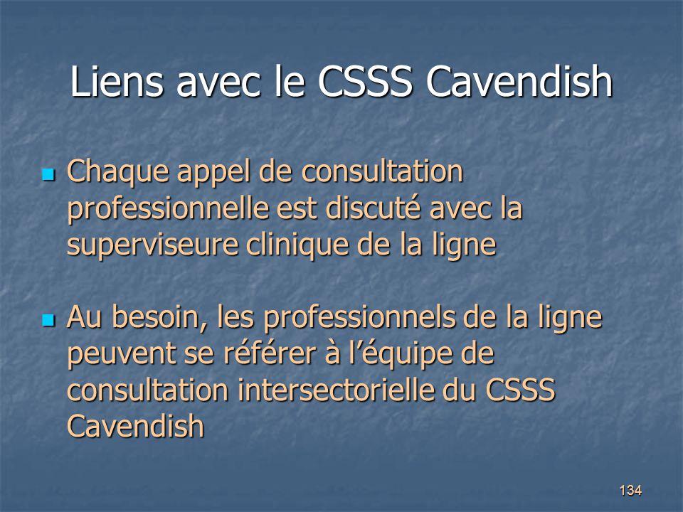 134 Liens avec le CSSS Cavendish Chaque appel de consultation professionnelle est discuté avec la superviseure clinique de la ligne Chaque appel de co