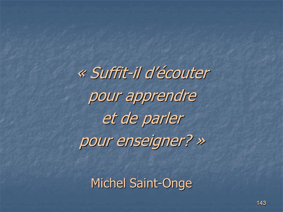 143 « Suffit-il d'écouter pour apprendre et de parler pour enseigner? » Michel Saint-Onge