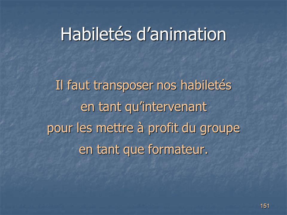 151 Habiletés d'animation Il faut transposer nos habiletés en tant qu'intervenant pour les mettre à profit du groupe en tant que formateur.