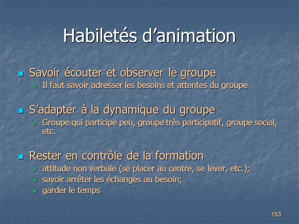 153 Habiletés d'animation Savoir écouter et observer le groupe Savoir écouter et observer le groupe Il faut savoir adresser les besoins et attentes du
