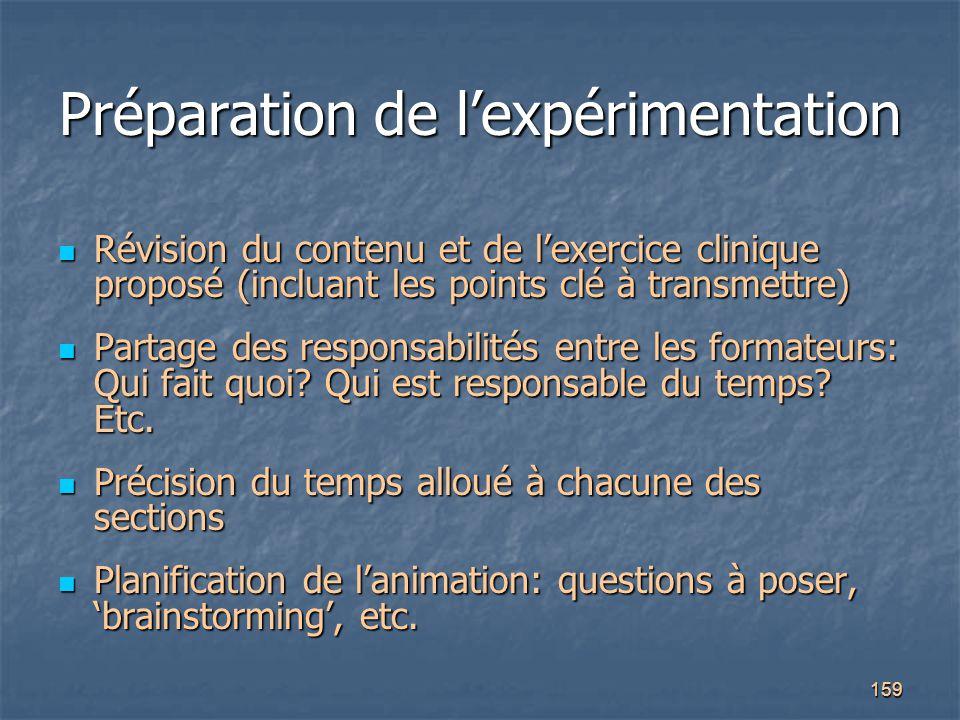 159 Préparation de l'expérimentation Révision du contenu et de l'exercice clinique proposé (incluant les points clé à transmettre) Révision du contenu