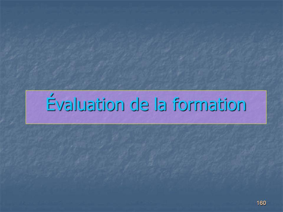 160 Évaluation de la formation