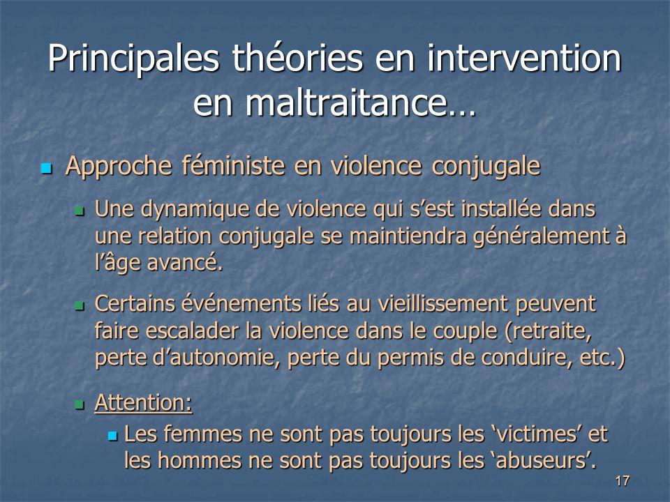 17 Principales théories en intervention en maltraitance… Approche féministe en violence conjugale Approche féministe en violence conjugale Une dynamiq